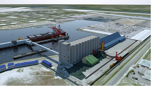 Import and storage facilities for Agribulk terminal